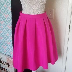Bright pink midi skirt